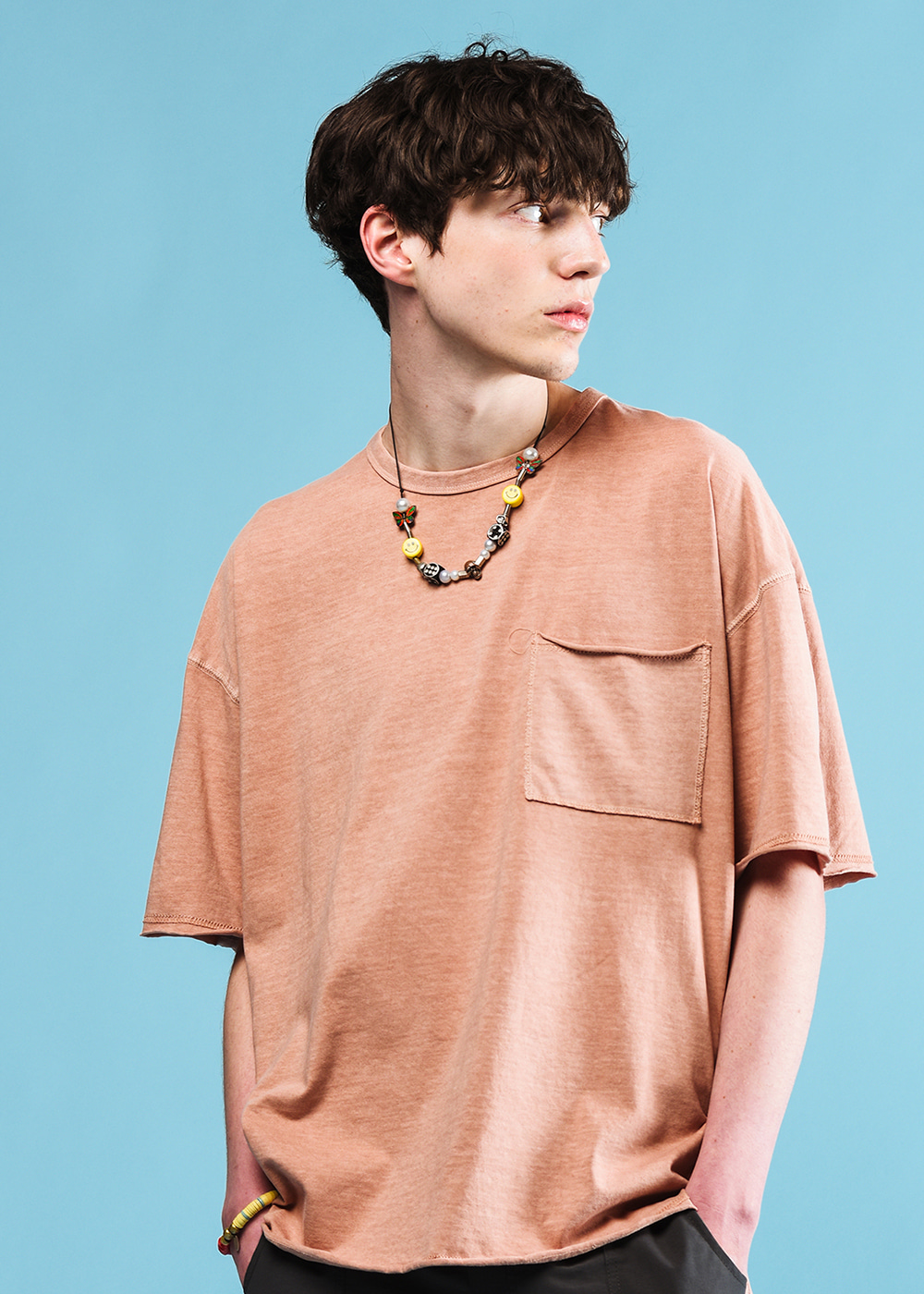 Stitches half T-shirt [indigo pink]