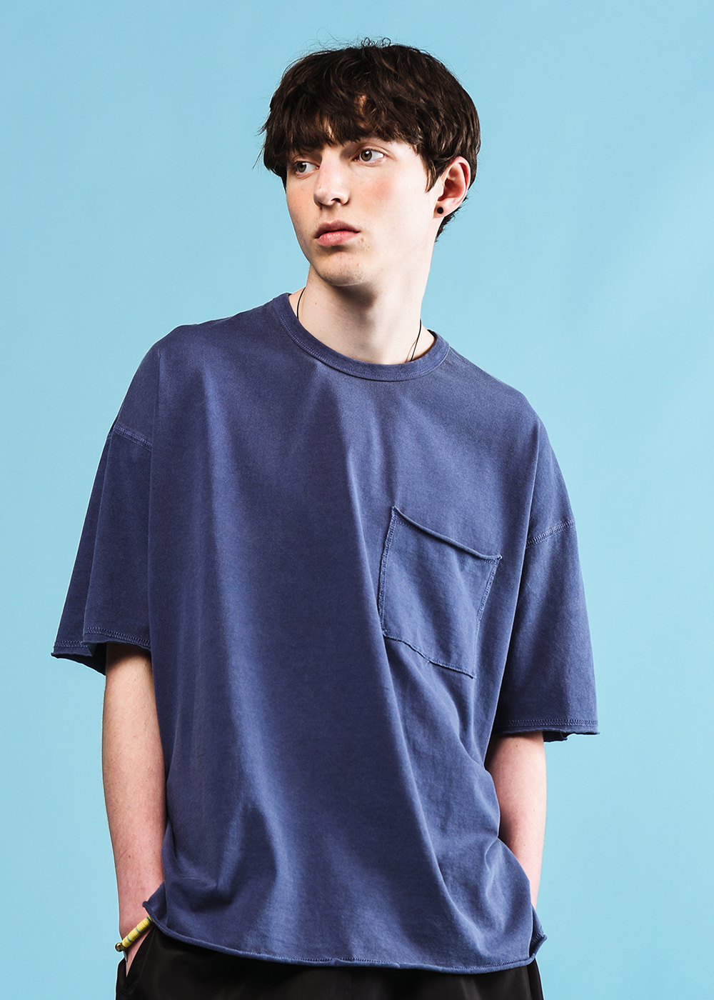 Stitches half T-shirt [navy]