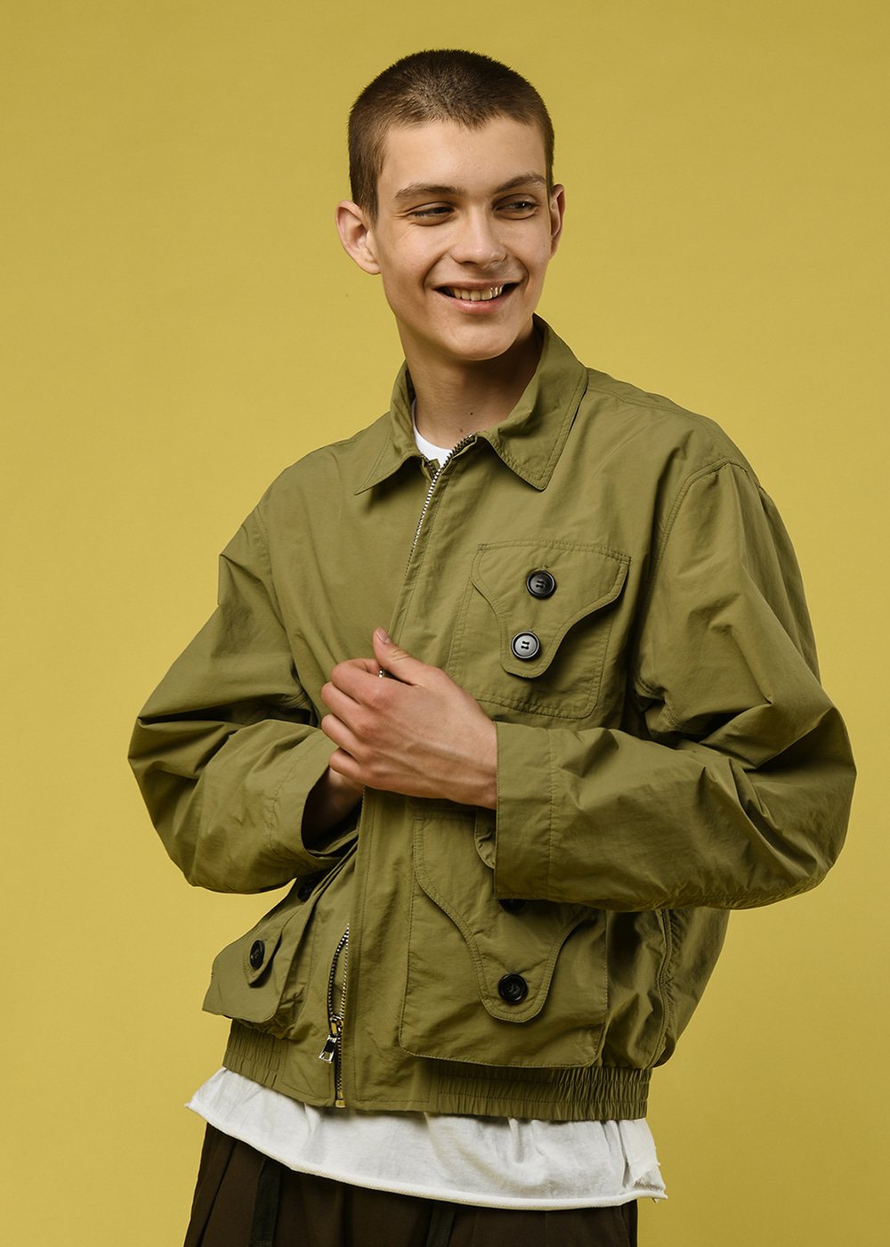 Three pocket utility jacket [light khaki]