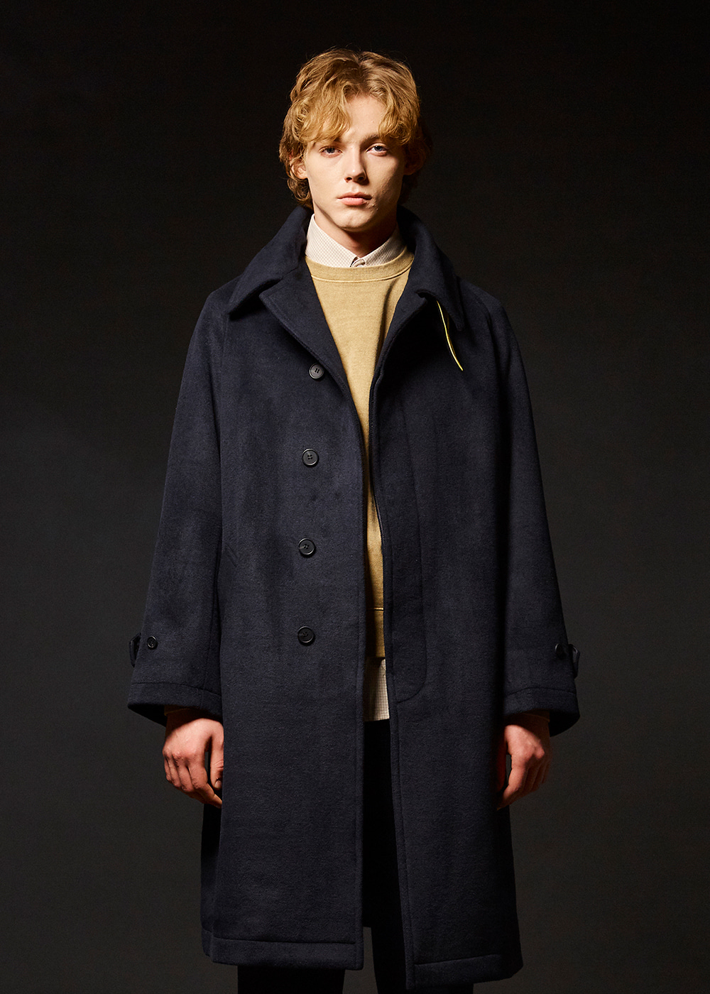 Wool balmacaan coat [dark navy]