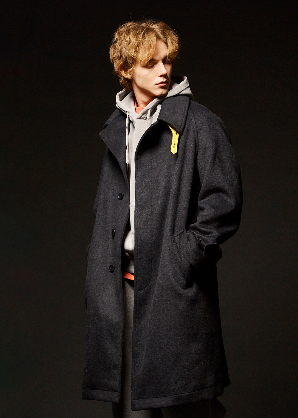 Wool balmacaan coat [dark gray]