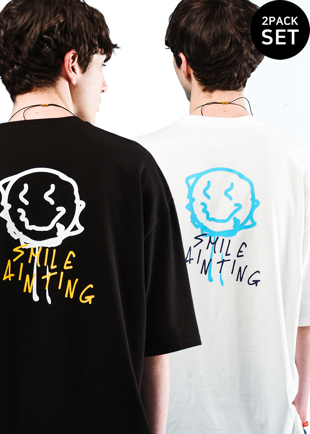 [1+1set] Smile painting half T-shirt 2color