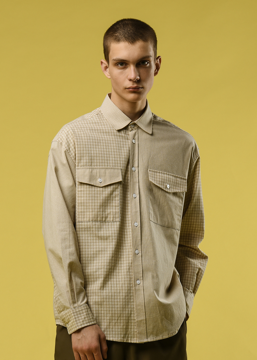 Gingham crazy shirt [beige]