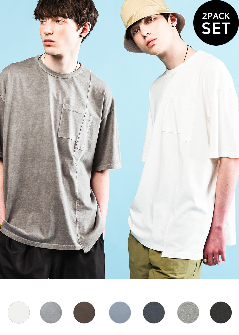 [1+1set] Asymmetry half T-shirt 7color