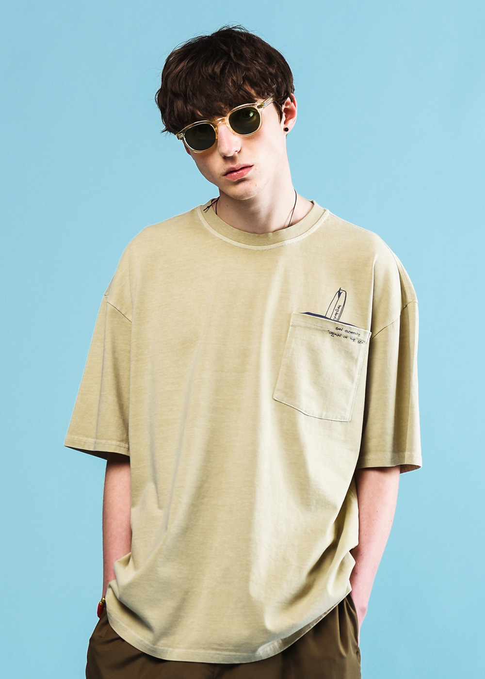 Pocket surfing half T-shirt [oatmeal]