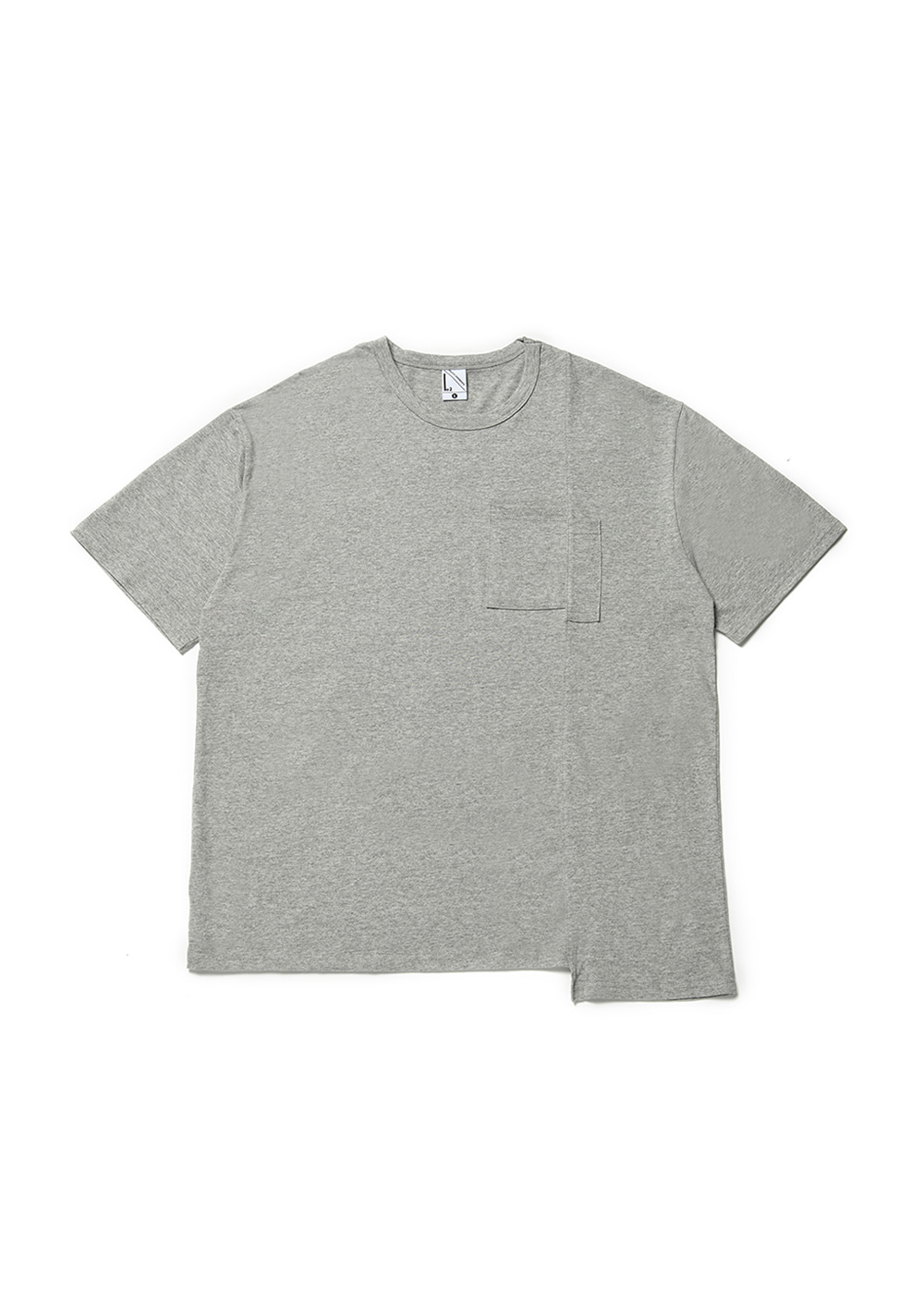 Asymmetry half T-shirt [melange]