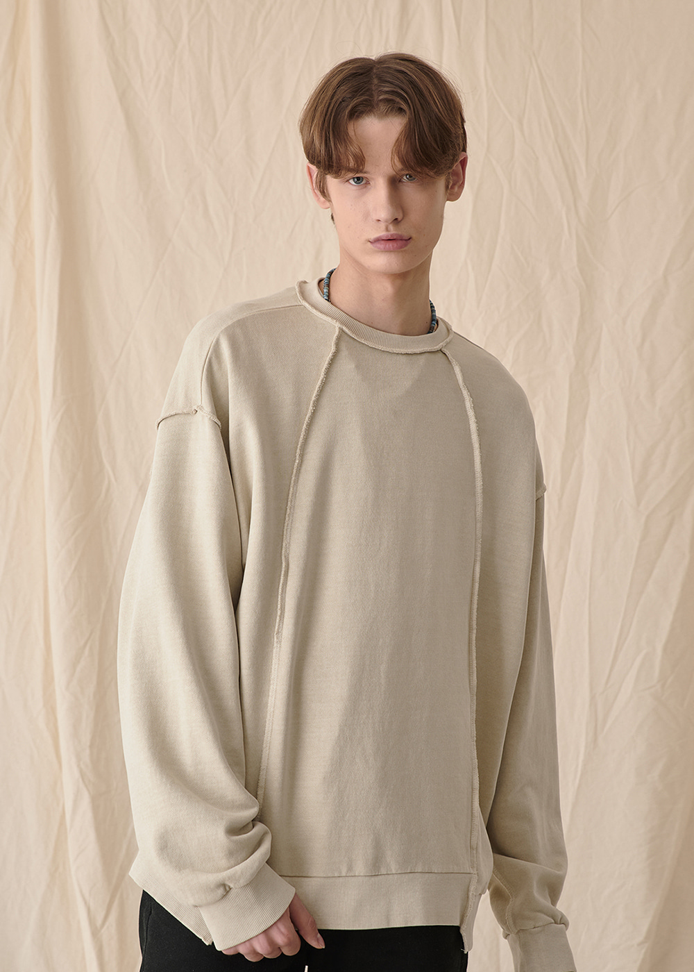 Crazy pigment sweat shirt [light khaki]